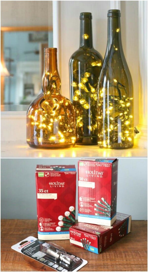 christmas wine bottle lamps - Christmas Bottle Decorations