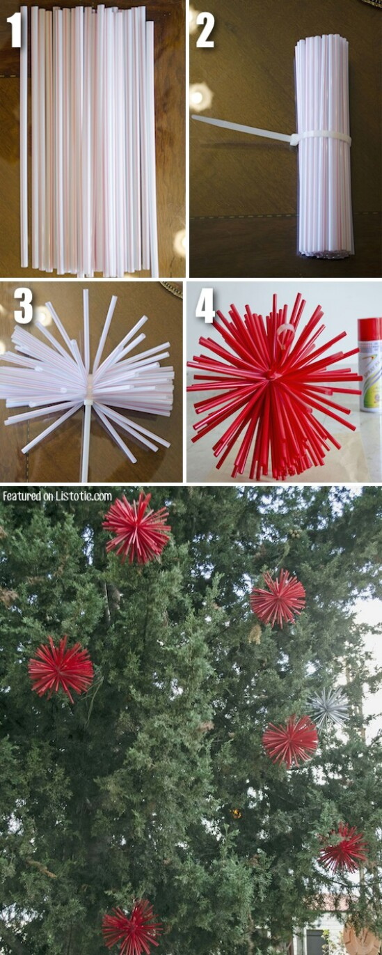 diy starburst ornaments - Homemade Outdoor Christmas Decorations