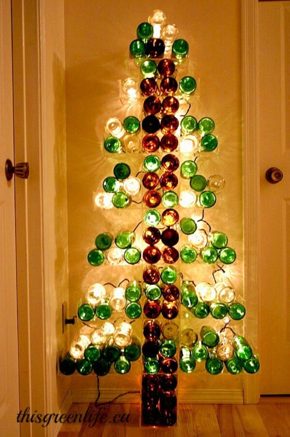 40 Festively Easy Wine Bottle Crafts For Holiday Home Decorating Simple Empty Wine Bottle Christmas Decorations