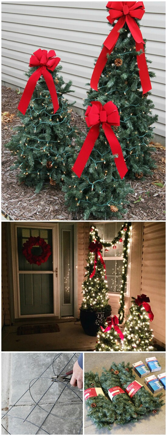 tiered tomato cage christmas trees - Diy Lighted Outdoor Christmas Decorations