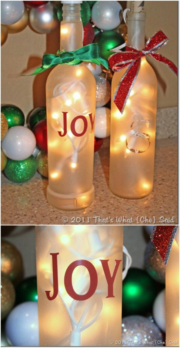 40 Festively Easy Wine Bottle Crafts For Holiday Home Decorating Extraordinary Empty Wine Bottle Christmas Decorations