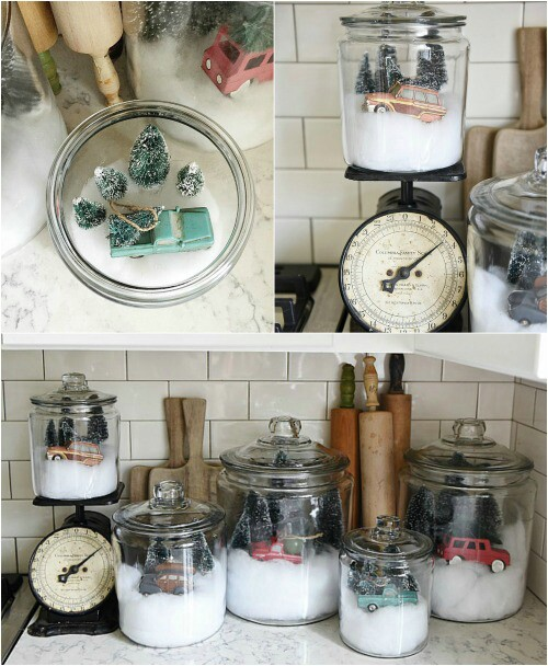 diy snow globe jars - Farmhouse Christmas Decor