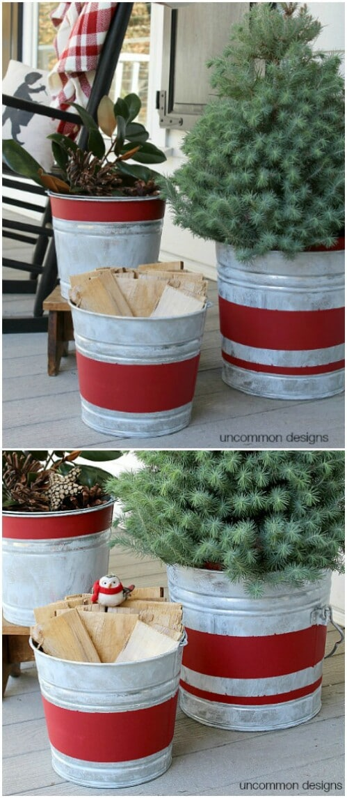 Vintage Striped Galvanized Buckets