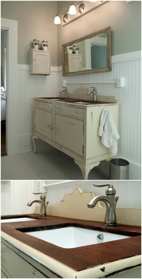 vintage bathroom vanity sink cabinets. Upcycled Buffet Vanity 20 Gorgeous DIY Bathroom Vanities to Beautify Your Beauty Routine
