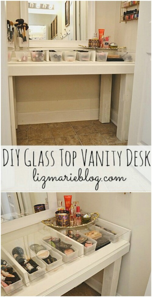 Glass Top Makeup Vanity