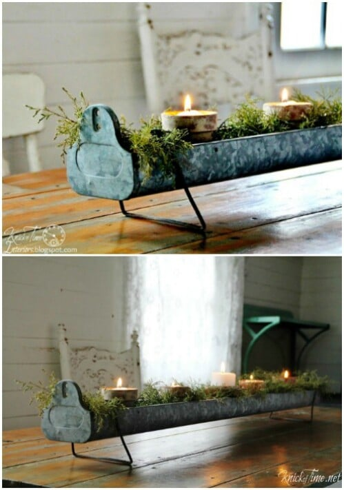 Repurposed Candle Holder Centerpiece