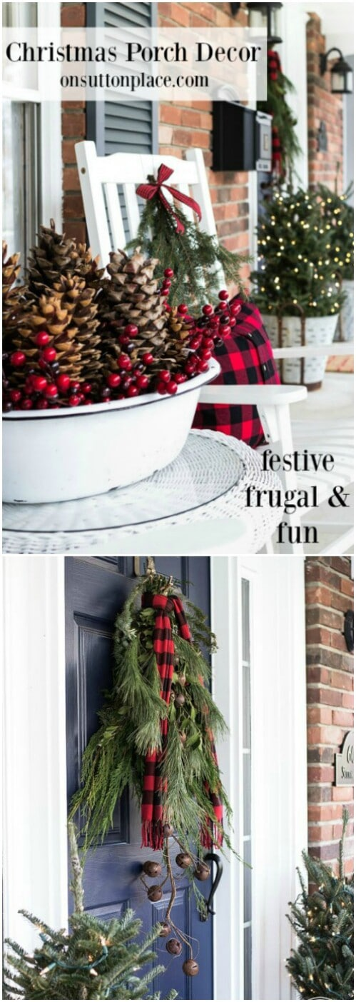 farmhouse front porch - Farmhouse Christmas Decor
