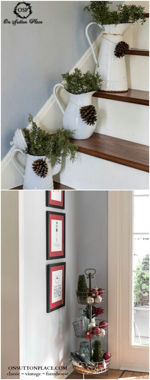 rustic stairway dcor - Farmhouse Christmas Decor