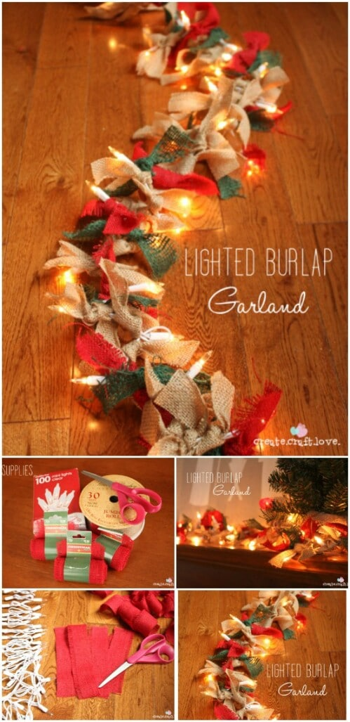 lighted burlap garland - Burlap Christmas Decorations For Sale