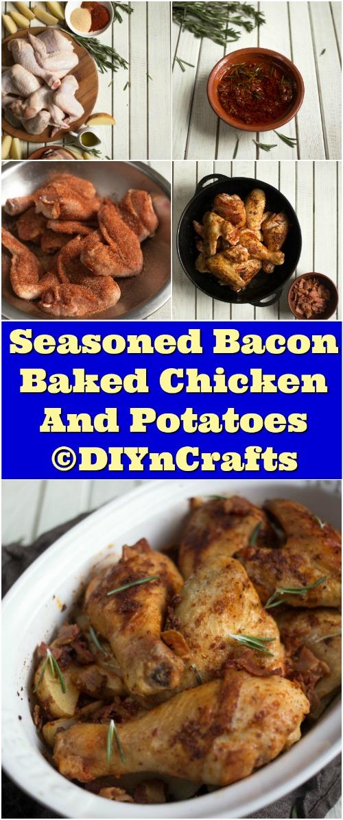Seasoned Bacon Baked Chicken And Potatoes Recipe