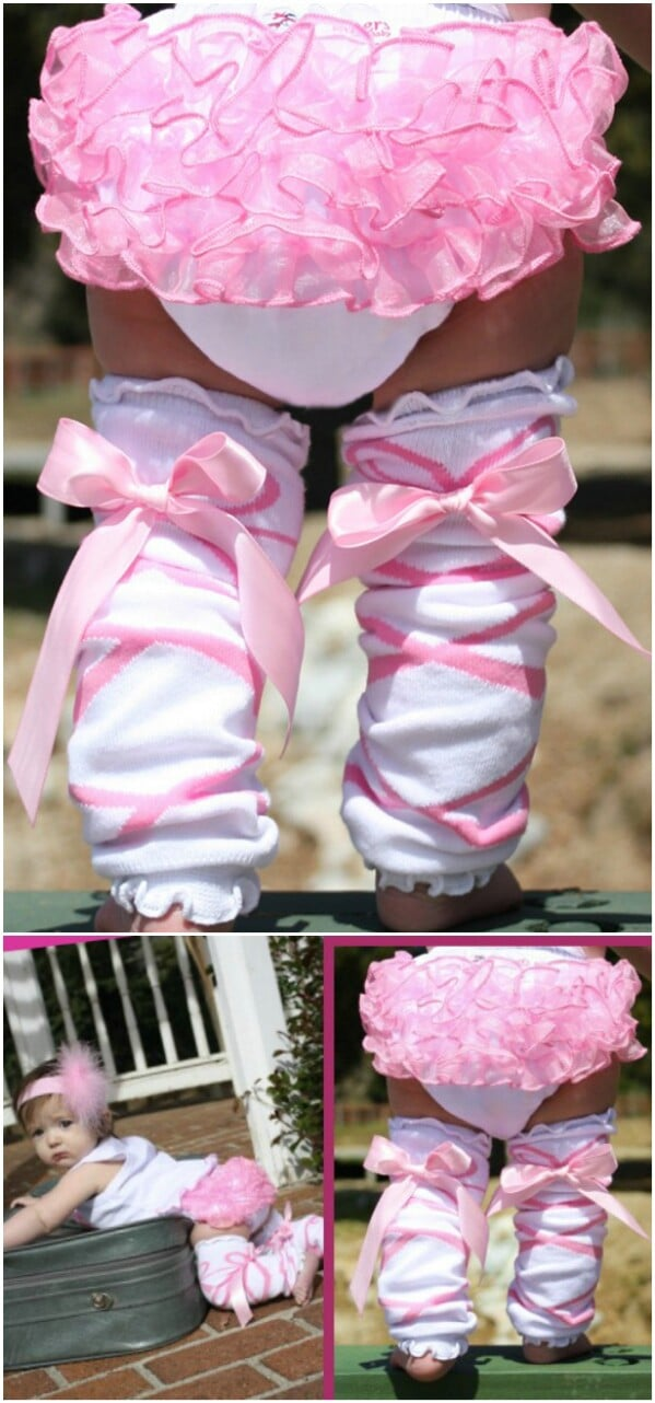 Ballerina Bow Ruffled Leg Warmers