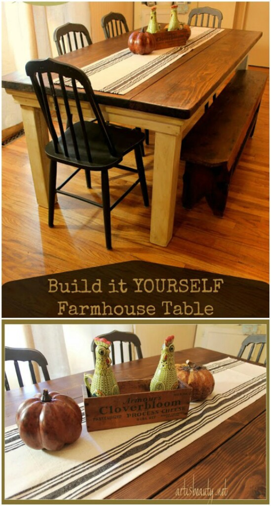 DIY Farmhouse Kitchen Table