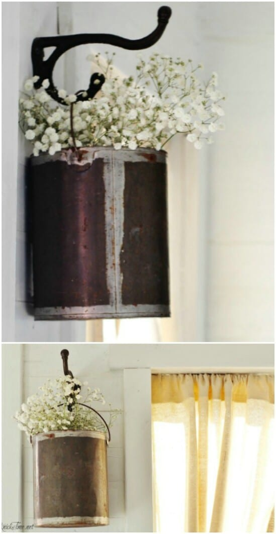 Hanging Paint Can Flower Holder