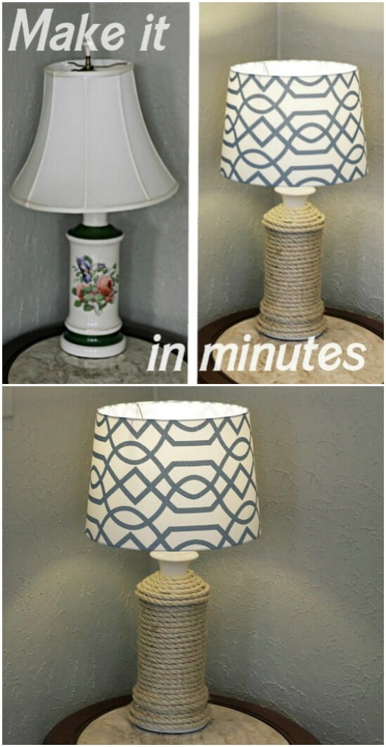34 Rope Wrapped Lamp 55 Gorgeous DIY