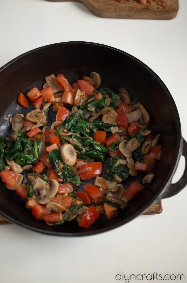 Preparing vegetables.