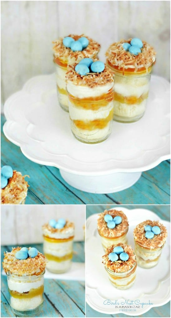 25 mason jar easter crafts for gifts home decor and more diy 1 birds nest cupcakes negle Image collections