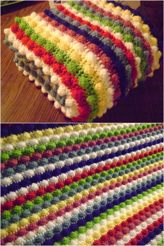 25 quick and easy crochet blanket patterns for beginners diy crafts 1 blackberry salad striped afghan ccuart Gallery