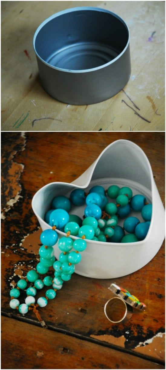 Gorgeous Heart Shaped Bowl - 20 Frugally Genius Ways To Upcycle Empty Tuna Cans