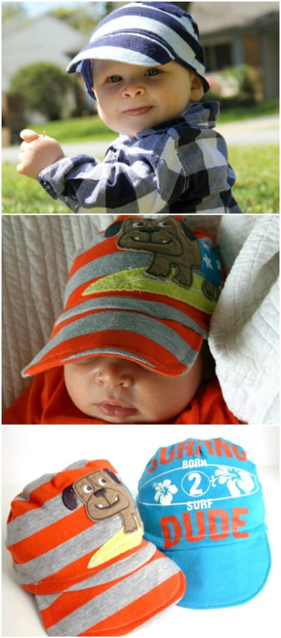 Baby Clothing Baseball Caps - 20 Adorably Creative Upcycling Projects To Repurpose Old Baby Clothes