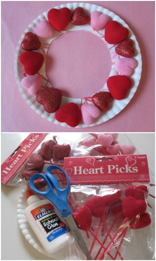 Puffy Heart Wreath - 20 Adorable And Easy DIY Valentine's Day Projects For Kids