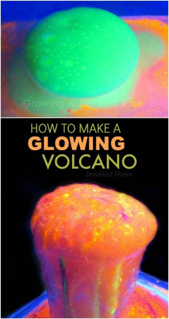 Glowing Volcano - 25 Amazingly Fun Glow In The Dark DIY Projects For Kids