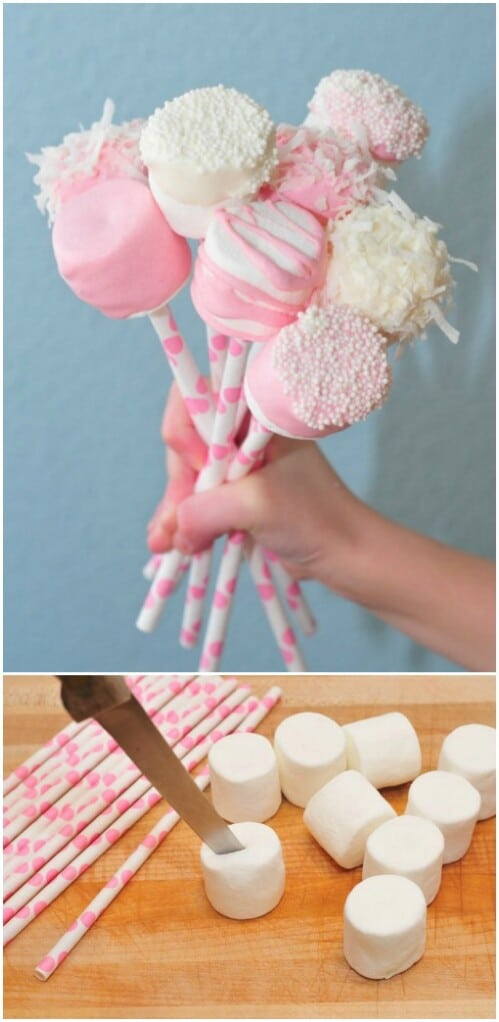 Valentine's Day Marshmallow Pops - 20 Adorable And Easy DIY Valentine's Day Projects For Kids