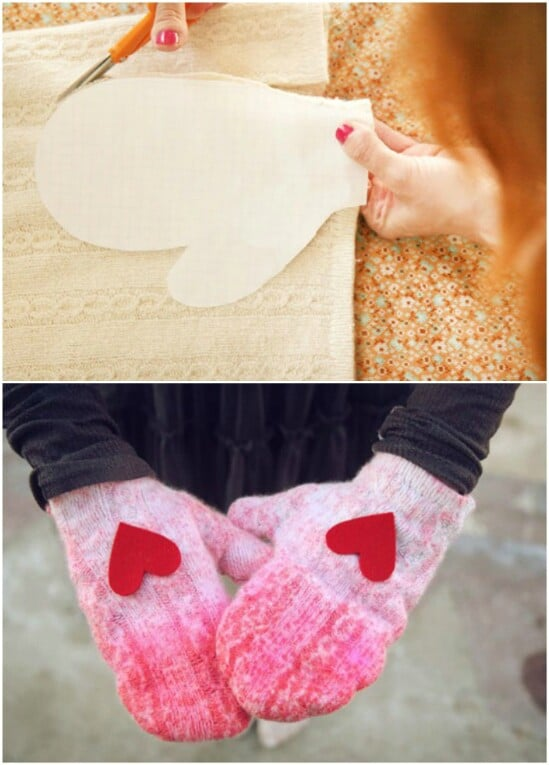 Heart Mittens - 50 Amazingly Creative Upcycling Projects For Old Sweaters