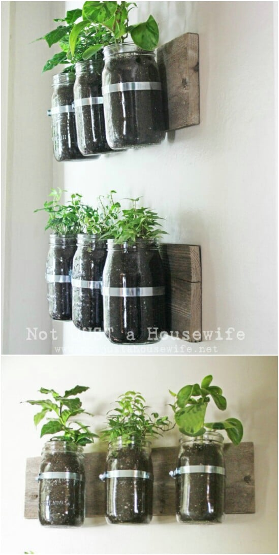 DIY Wall Planter - 30 Mind Blowing DIY Mason Jar Organizers You'll Want To Make Right Away