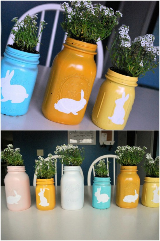 25 mason jar easter crafts for gifts home decor and more page spray painted mason jar planters negle Image collections