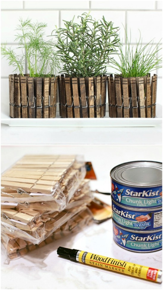 Clothespin Can Herb Planters - 20 Frugally Genius Ways To Upcycle Empty Tuna Cans