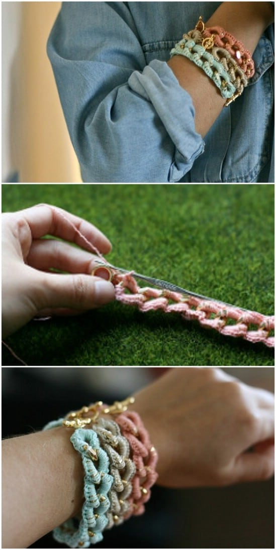 Crocheted Chain Bracelets
