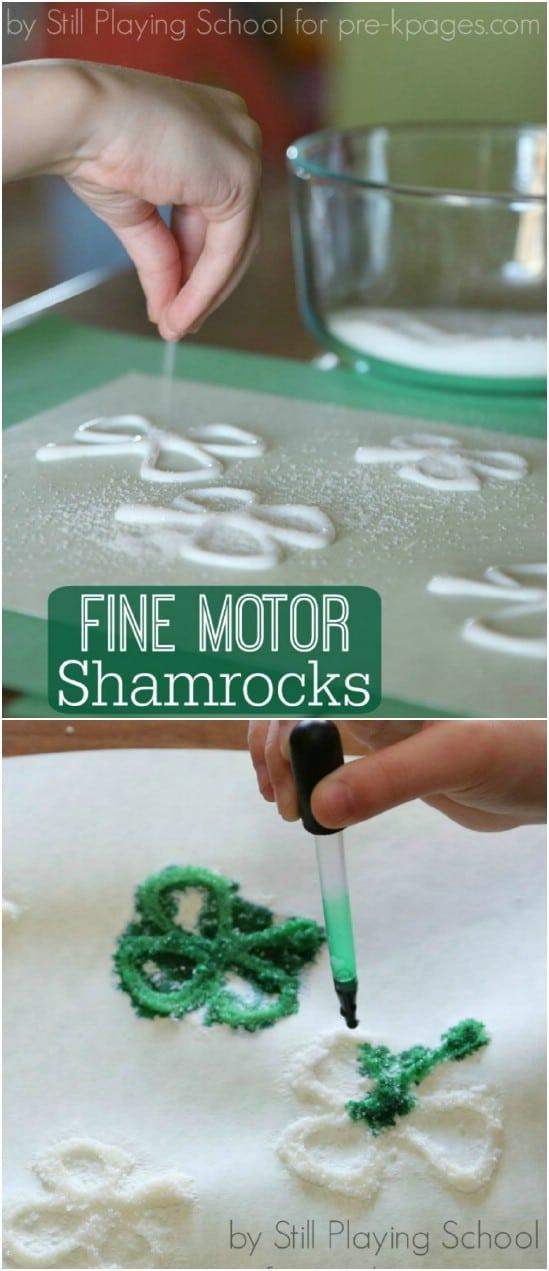 Fine Motor Sparkly Shamrocks