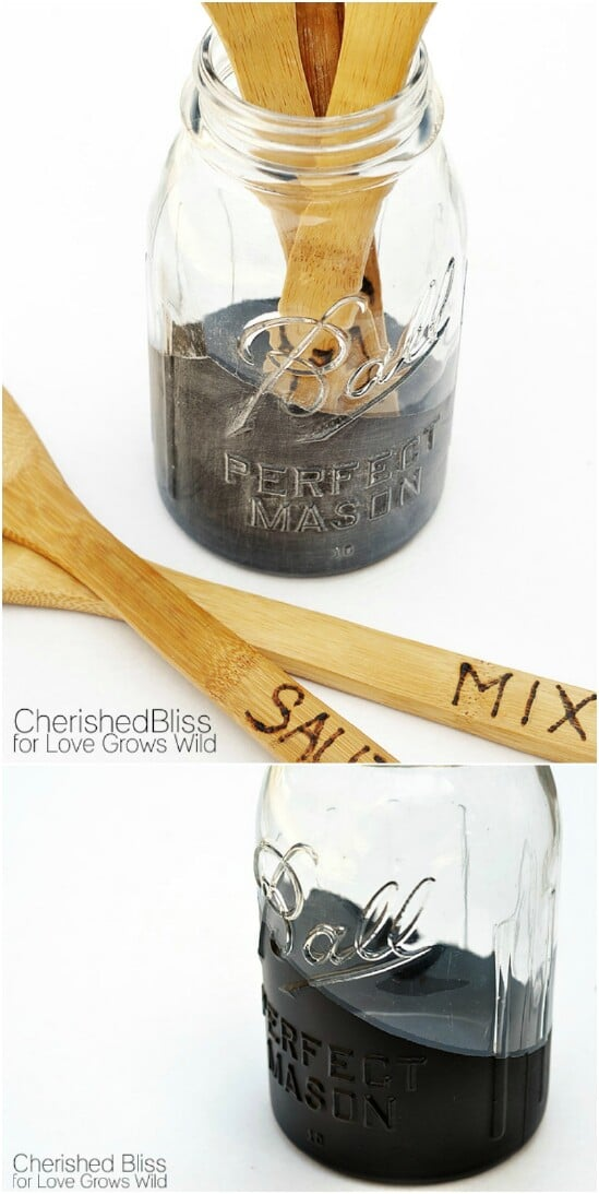 Paint Dipped Utensil Holders - 30 Mind Blowing DIY Mason Jar Organizers You'll Want To Make Right Away