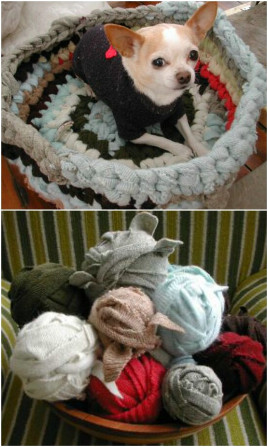 Sweater Pet Bed - 50 Amazingly Creative Upcycling Projects For Old Sweaters