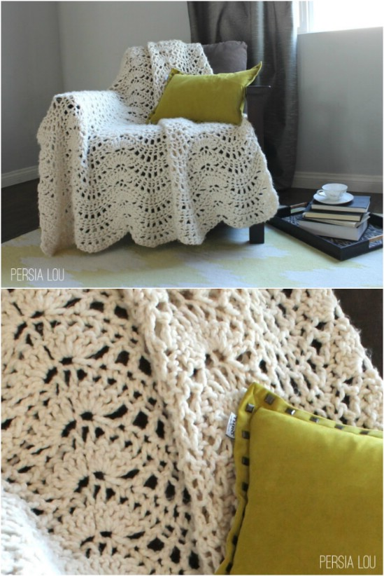 Chunky Feather And Fan Blanket