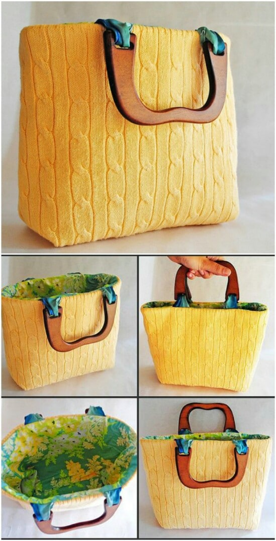 Sweater Purse - 50 Amazingly Creative Upcycling Projects For Old Sweaters