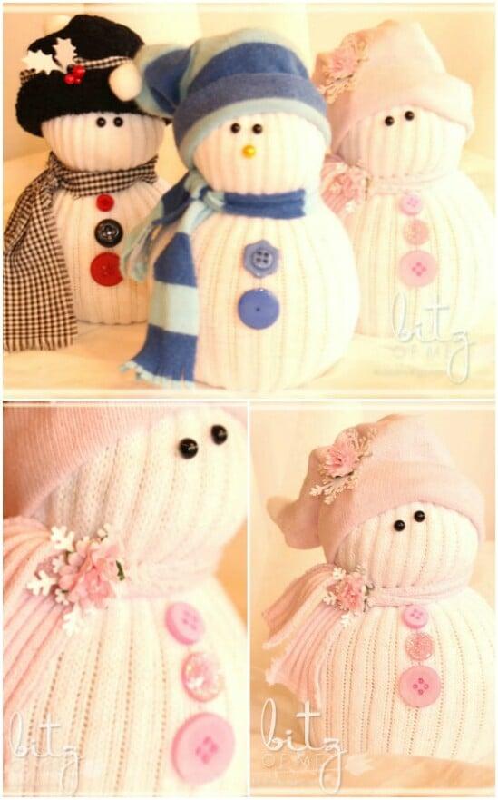DIY No-Sew Sock Snowmen