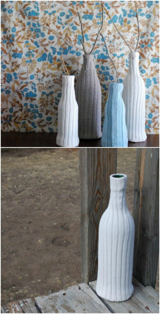 Recycled Sweater Vase - 50 Amazingly Creative Upcycling Projects For Old Sweaters