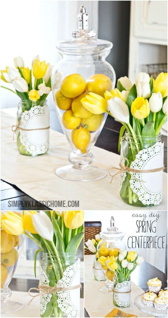 25 mason jar easter crafts for gifts home decor and more diy easy mason jar spring centerpiece negle Image collections