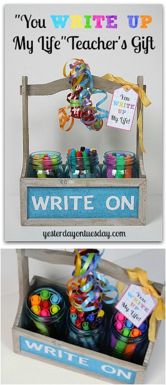 Teacher's Organization Gift - 30 Mind Blowing DIY Mason Jar Organizers You'll Want To Make Right Away
