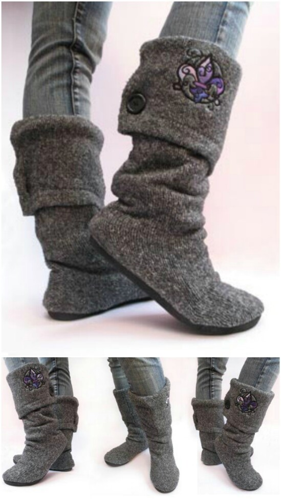 Sweater Boots - 50 Amazingly Creative Upcycling Projects For Old Sweaters