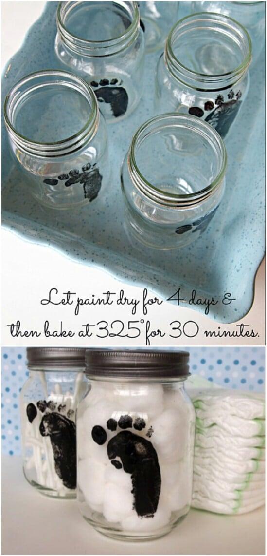 Footprint Nursery Supplies Organizer - 30 Mind Blowing DIY Mason Jar Organizers You'll Want To Make Right Away