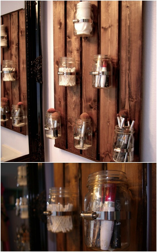 DIY Bathroom Organizer - 30 Mind Blowing DIY Mason Jar Organizers You'll Want To Make Right Away