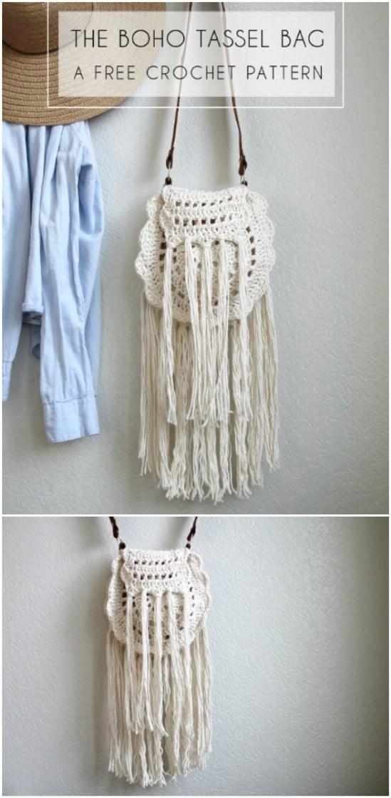 Boho Tassel Crocheted Bag