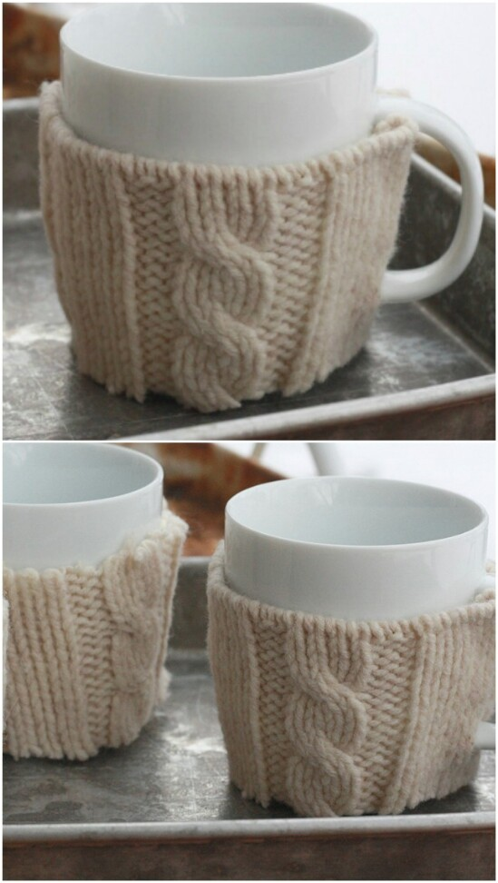Coffee Mug Warmer - 50 Amazingly Creative Upcycling Projects For Old Sweaters