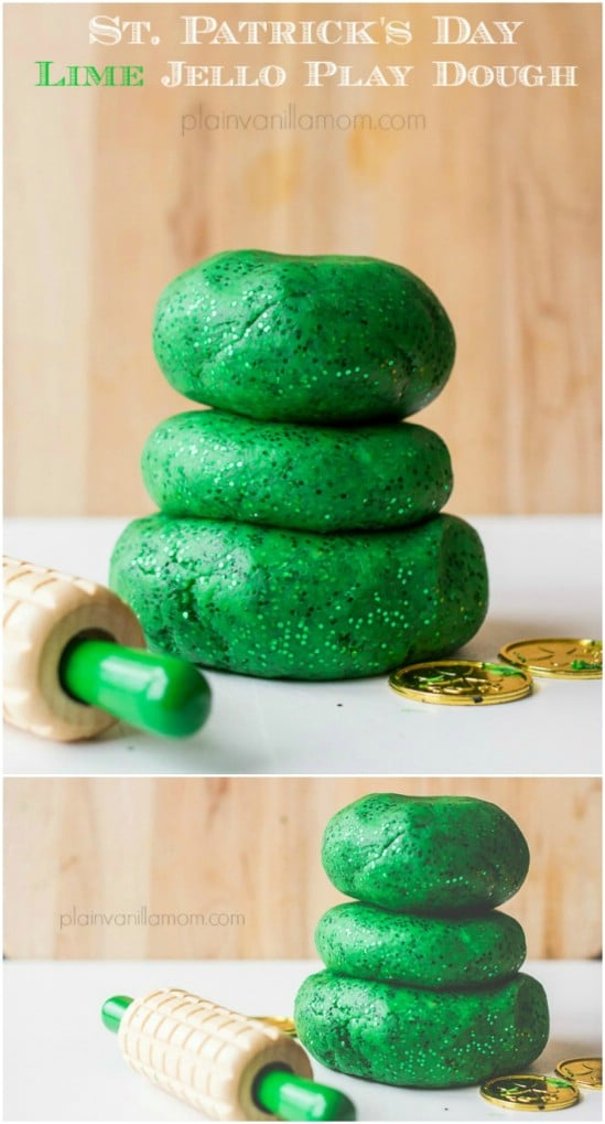 Sparkling Lime Jell-O Play Dough