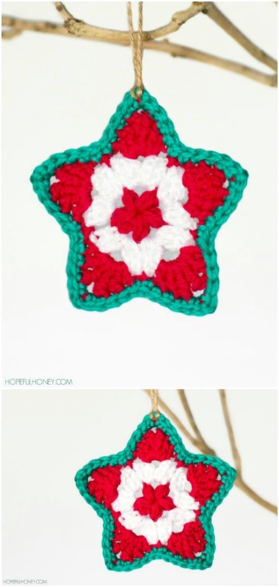 Crocheted Star Christmas Ornament