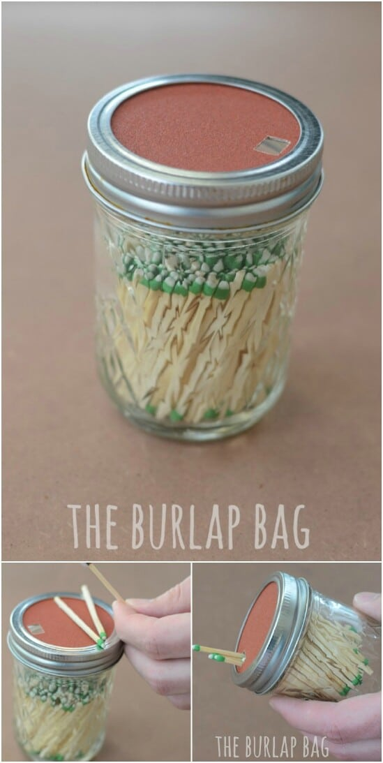 Mason Jar Matchbox - 30 Mind Blowing DIY Mason Jar Organizers You'll Want To Make Right Away