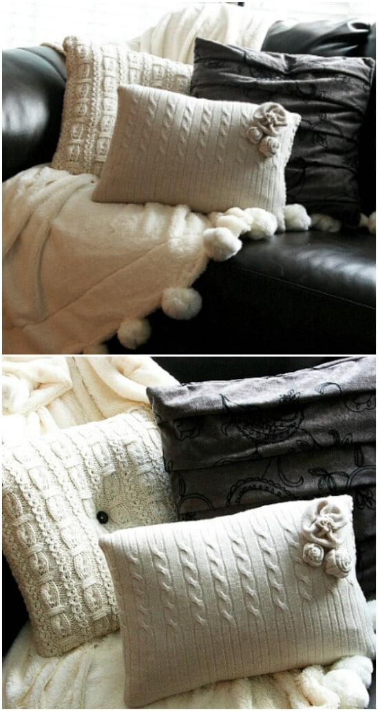 Sweater Throw Pillows - 50 Amazingly Creative Upcycling Projects For Old Sweaters