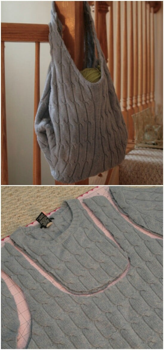Reusable Shopping Bag - 50 Amazingly Creative Upcycling Projects For Old Sweaters